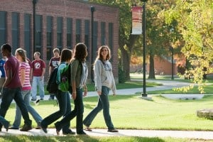 education campus students walking